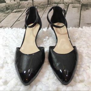 Franco Sarto Black Patent Ankle Strap Heels